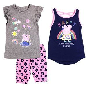 Peppa Pig Girls  3-Piece Bike Short Set.